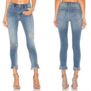 Free People Great Heights Fray Blue Jeans Size 30